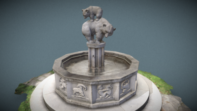 Zodiac Fountain, Bear Fountain, 3D model thumbnail